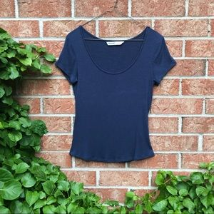Basic Blue Ribbed Scoop Neck Tee